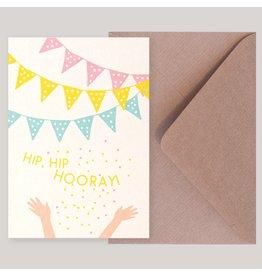 Souci-illustration Wenskaart - Hip Hip Hooray - Postkaart + Envelope - 10 x 15cm