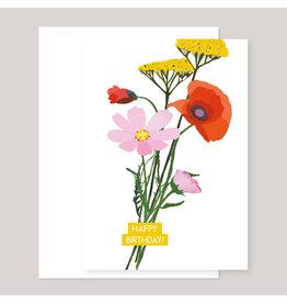 Souci-illustration Wenskaart - Verjaardagsboeket - Dubbele kaart + Envelope - 10 x 15cm