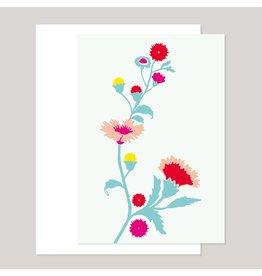 Souci-illustration Wenskaart - Koorbloemen, kleurijk - Dubbele kaart + Envelope - 10 x 15cm