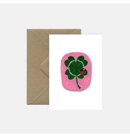 Pink Cloud Studio Wenskaart - Clover - Dubbele Kaart met envelop - blanco