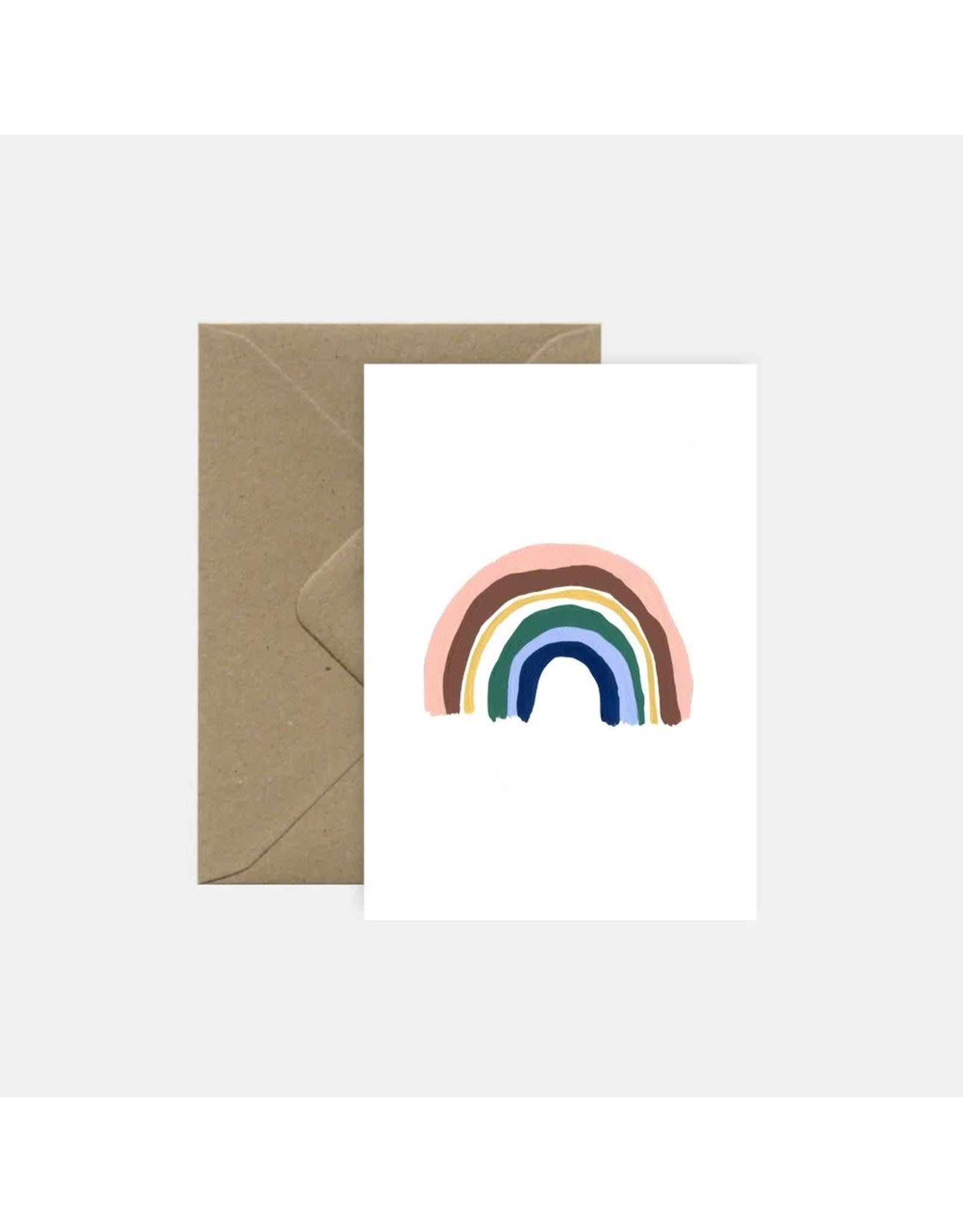 Pink Cloud Studio Wenskaart - Pastel Rainbow - Dubbele Kaart met envelop - blanco