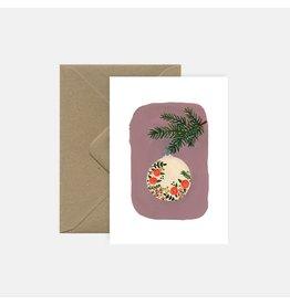 Pink Cloud Studio Wenskaart- Kerst - Christmas Bauble - dubbele kaart met envelop
