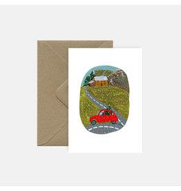 Pink Cloud Studio Wenskaart- Kerst - Driving home the tree - dubbele kaart met envelop