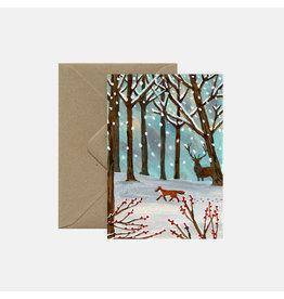 Pink Cloud Studio Wenskaart- Kerst - In the wood - dubbele kaart met envelop