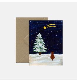 Pink Cloud Studio Wenskaart- Kerst - Shooting Star - dubbele kaart met envelop