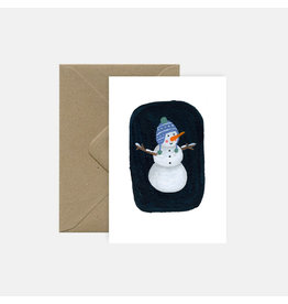 Pink Cloud Studio Wenskaart- Kerst - Snowman - dubbele kaart met envelop