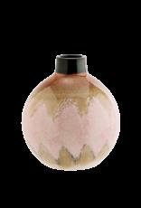 Madam Stolz Ronde Vaas - Roze, creme, bruin - Ø 19 x 23 cm