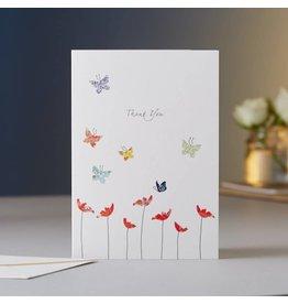 Eloise Hall Wenskaart - Anemones, Thank you - Dubbele Kaart + Envelop - 11,5 x 16,5 - Blanco