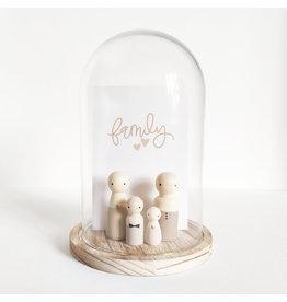 Sweet Petite Jolie Glazen stolp met Quote - Family (bruin) - 10 x 15 cm