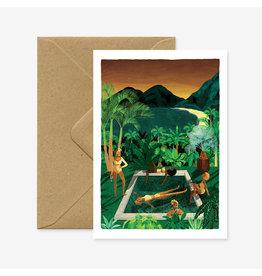 ATWS Wenskaart - Party Girls  - Dubbele kaart + Envelop - 11,5 x 16,5 - Blanco