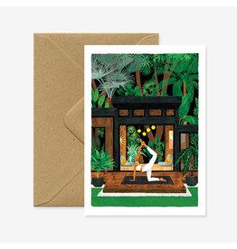 ATWS Wenskaart - Yoga Terrasse - Dubbele kaart + Envelop - 11,5 x 16,5 - Blanco