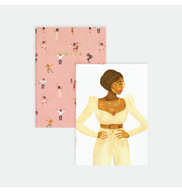 ATWS Zaknotitieboekje - Dancers & Love lady - 10,5 x 14,8 cm - Golf foil - 36 blank pages