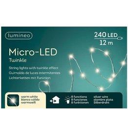 Vanremoortel Micro-LED - 12m / 240 LED - Zilver draad - Warm Wit