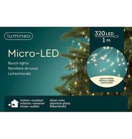 Vanremoortel Micro-LED - Lichtbundel - 1m / 320LED - Warm Wit - Zilver draad