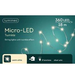 Vanremoortel Micro-LED - 18m / 360 LED - Zilver draad - Warm Wit