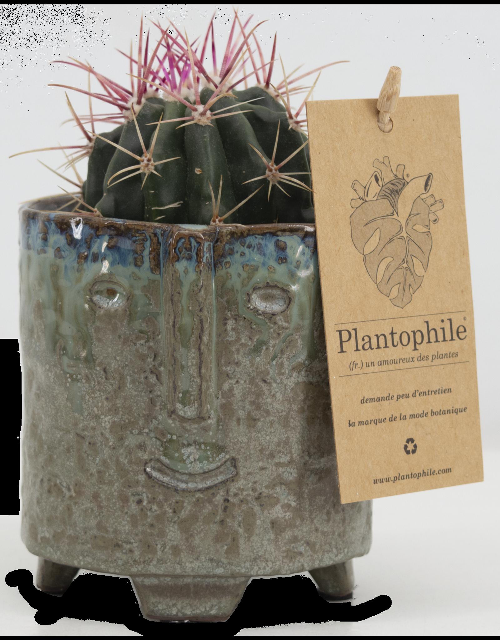 Plantophile Bloempot gezicht - Petrol - Ø 8,5cm