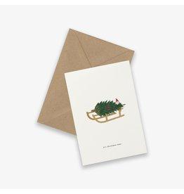 Kartotek Wenskaart - Kerst - Winter Sled - Dubbele kaart en Enveloppe - A6
