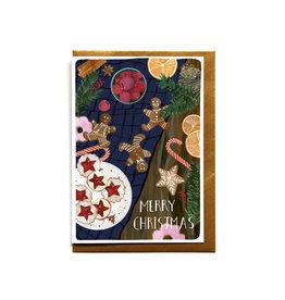 Reddish Design Wenskaart - Kerst - Cookie Table - Dubbele kaart + Envelope - 10 x 15cm