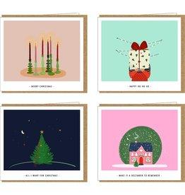 Studio Mie Kerstdoosje X-MAS - 4 kerstkaarten x 2 + 8 enveloppen