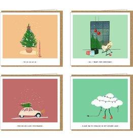 Studio Mie Kerstdoosje X-MAS & New Year - 4 kerstkaarten x 2 + 8 enveloppen