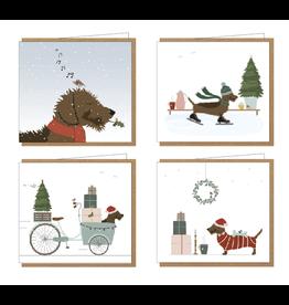 Klein liefs Kerstdoosje Fritz - 4 kerstkaarten x 2 + 8 enveloppen