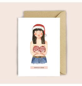 Luvter Paper Co. Wenskaart - Kerst - X-mas Girl - Dubbele kaart + Enveloppe