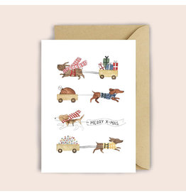 Luvter Paper Co. Wenskaart - Kerst - X-mas Dog- Dubbele kaart + Enveloppe
