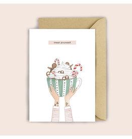 Luvter Paper Co. Wenskaart - Kerst - Gingerbread Hot Chocolate - Dubbele kaart + Enveloppe