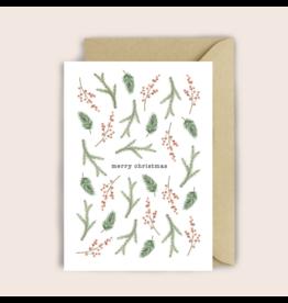 Luvter Paper Co. Wenskaart - Kerst - Foliage - Dubbele kaart + Enveloppe