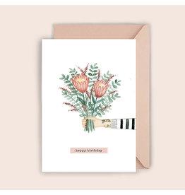 Luvter Paper Co. Wenskaart - Protea Birthday - Dubbele kaart + Enveloppe