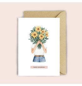 Luvter Paper Co. Wenskaart - Sunflower Girl- Dubbele kaart + Enveloppe