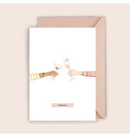 Luvter Paper Co. Wenskaart - Champagne Cheers - Dubbele kaart + Enveloppe