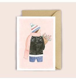 Luvter Paper Co. Wenskaart - Bikerjacket Girl - Dubbele kaart + Enveloppe