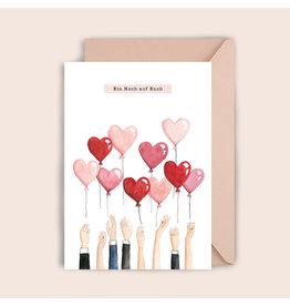 Luvter Paper Co. Wenskaart - Heart Balloons - Dubbele kaart + Enveloppe