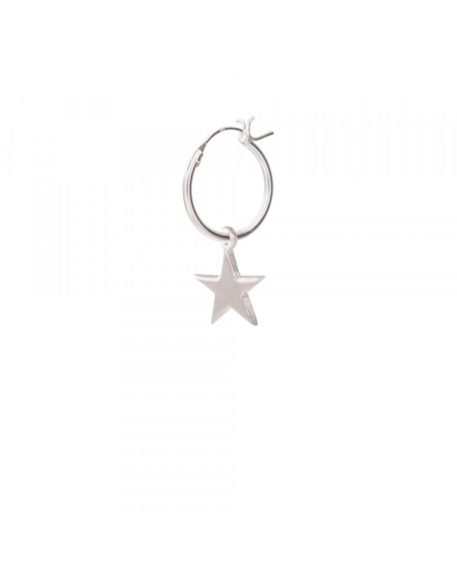 A Beautiful Story Big Star Sterling Silver Hoop Earring