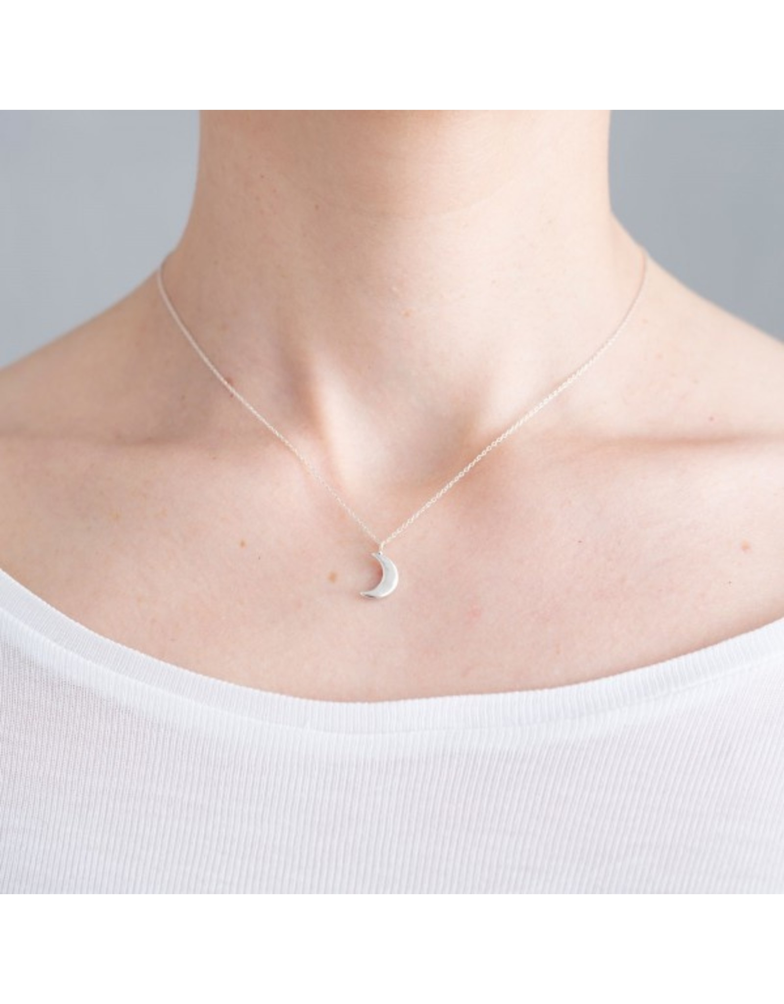 A Beautiful Story Delicate Moon Sterling Silver Necklace