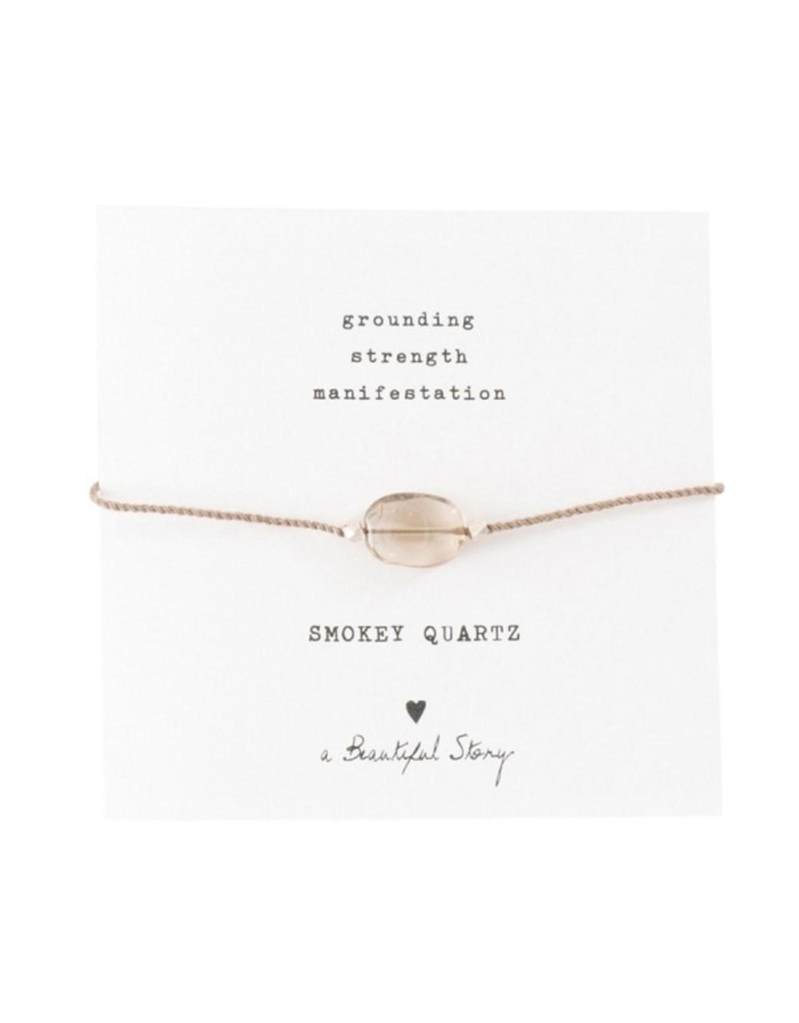 A Beautiful Story Gemstone Card Smokey Quartz silver Bracelet