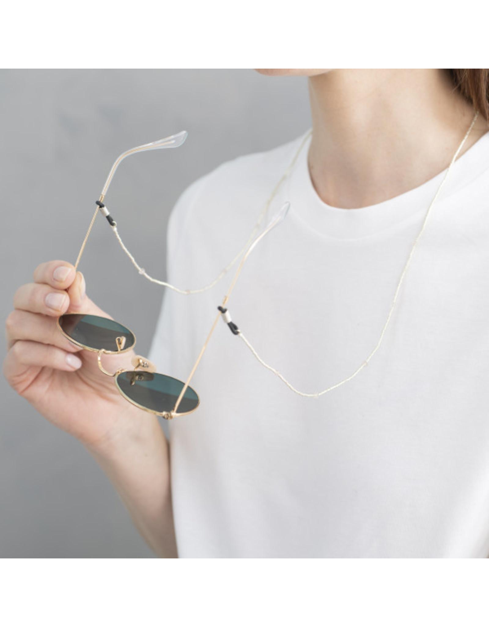A Beautiful Story Flower Rose Quartz Silver glasses cord