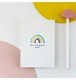 Hello August Postkaart - Regenboog