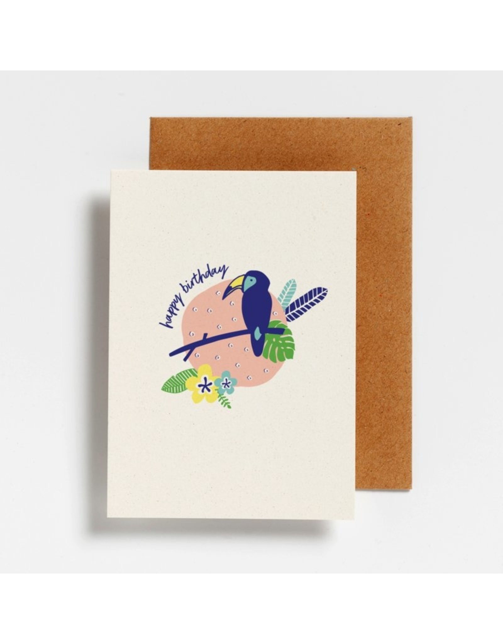 Hello August Postkaart - Happy Birthday Toekan