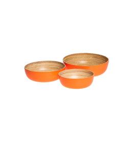 Neon oranje bamboe schalen ( set van 3 )