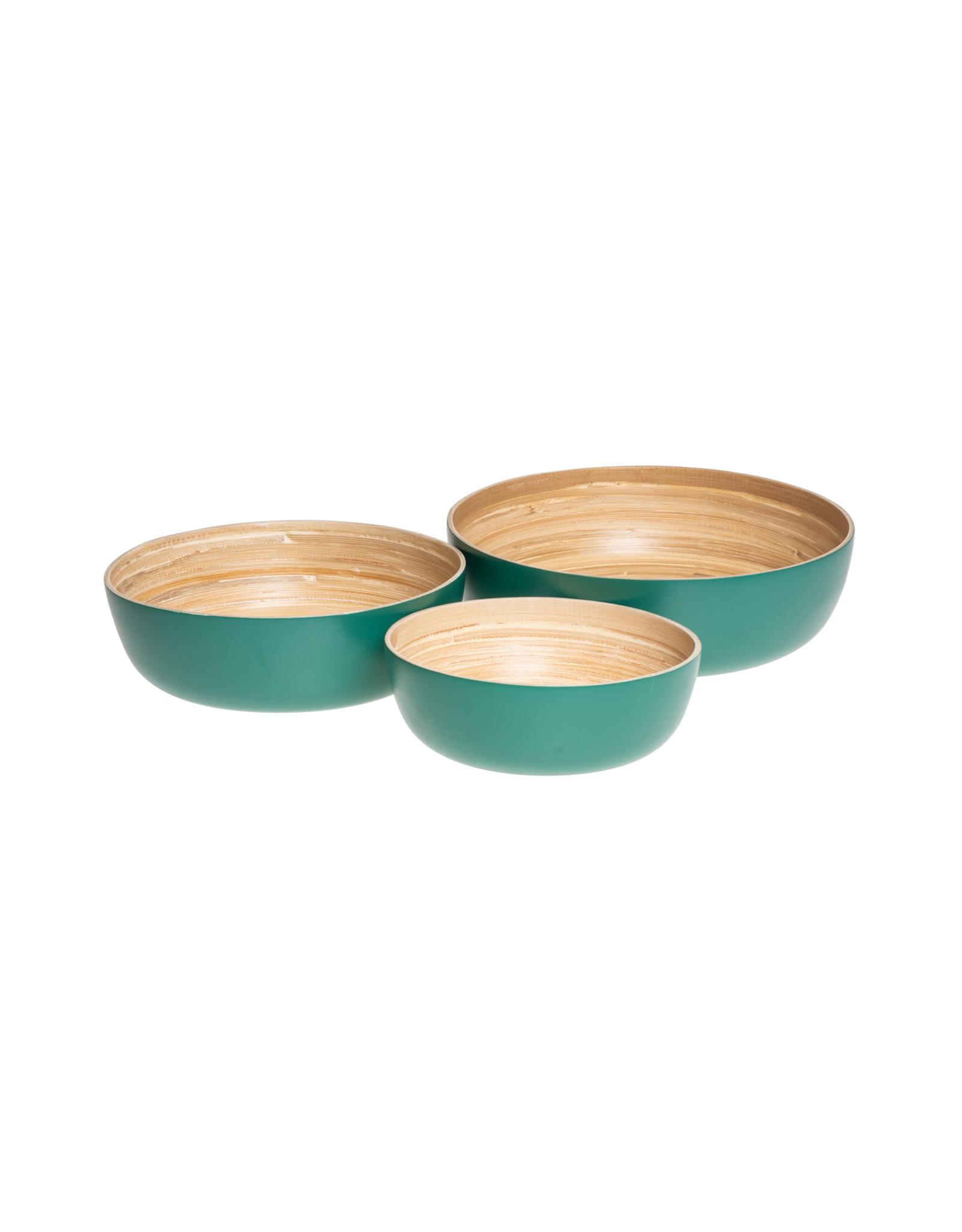 LO tableware Petrol green bamboe set (3st)