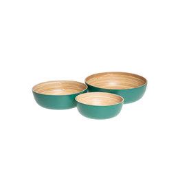 LO tableware Bamboeschalen - petrol groen ( set van 3 )