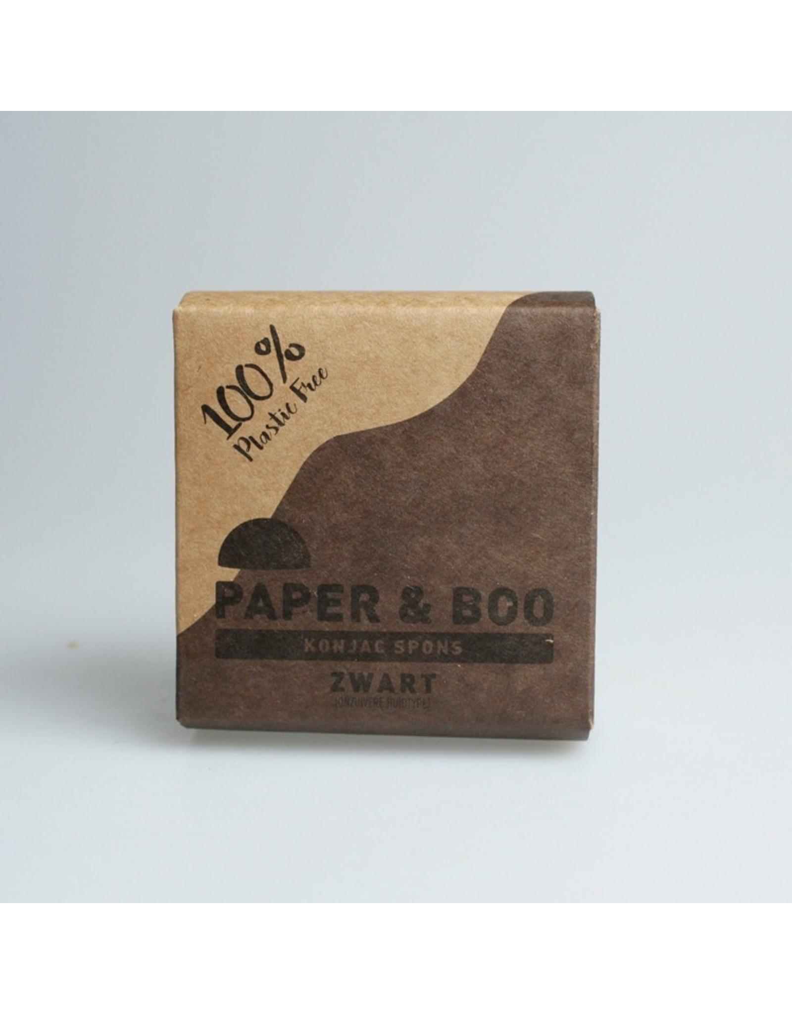PAPER & BOO Konjac spons zwart (onzuivere huid)