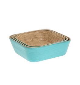 LO tableware Bamboeschalen - Malibu blauw (set)
