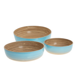 Bamboeschalen - Oceaan blauw (set)