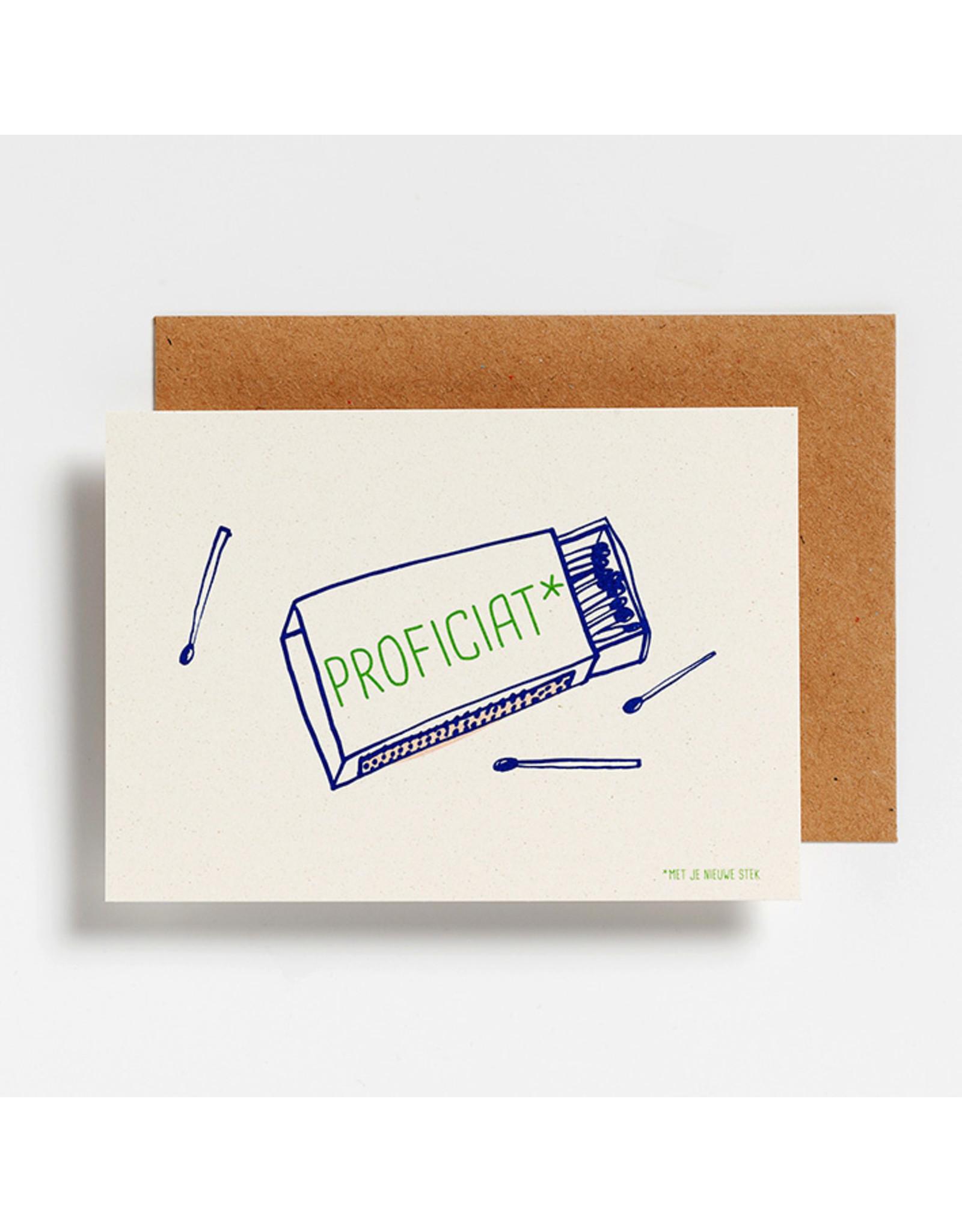 Hello August Postkaart - Proficiat nieuwe stek