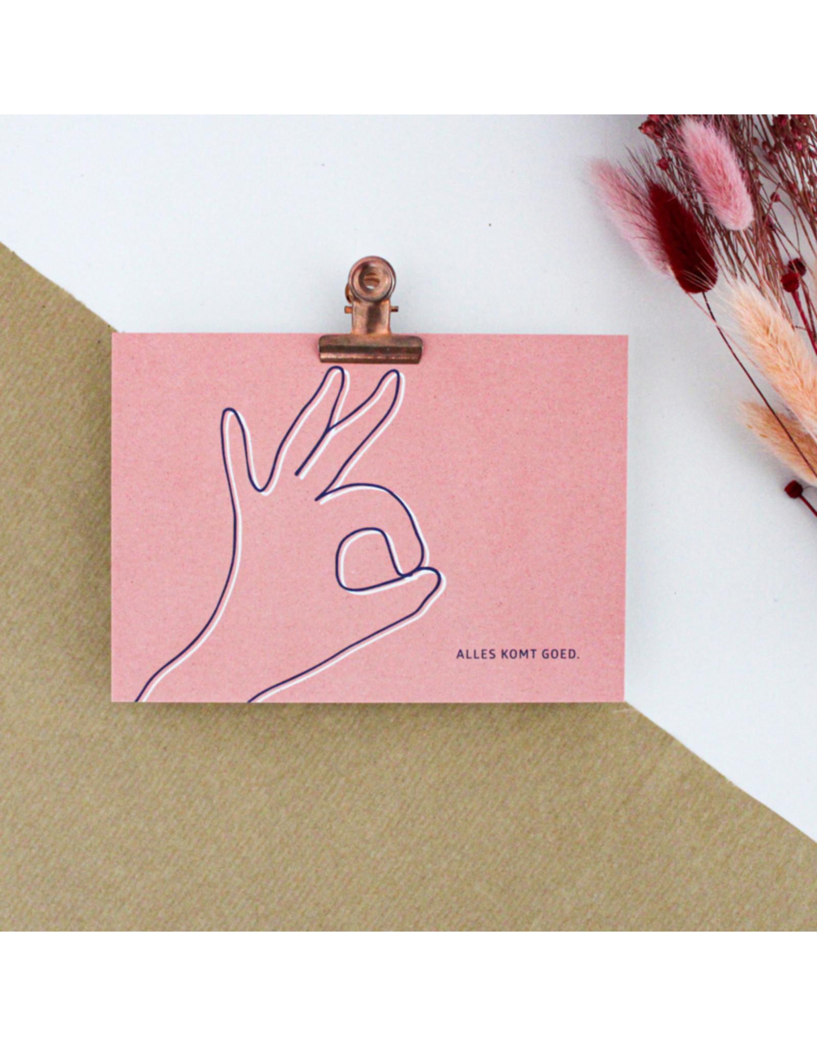 Hello August Postkaart - Alles komt goed