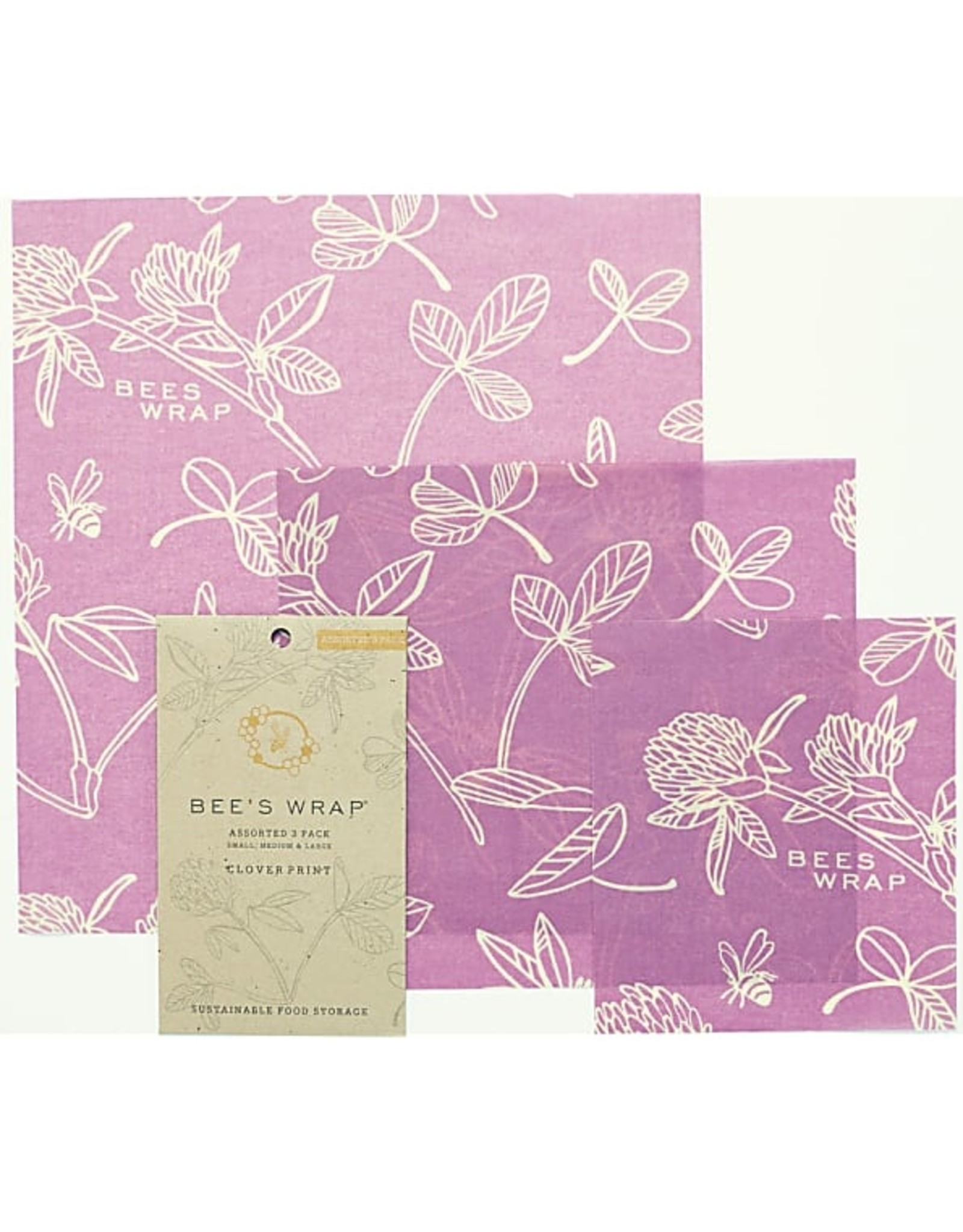 "Bee's wrap 3-pack Assorted ""Mimi's Purple"""
