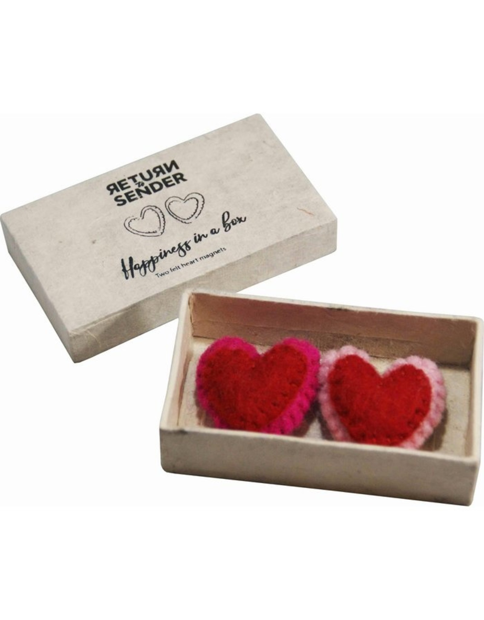Return to Sender Luck in a box; two heart magnets